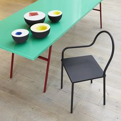 vessels by Sophie Southgate | Long Table by Muller Van Severen | Softer Than Steel chair by Nendo