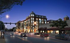 Plans call for a six-story development with stores, offices, restaurant, and apartments.