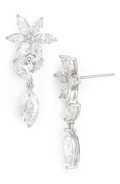 Nadri Floral Crystal Linear Drop Earrings available at Nordstrom