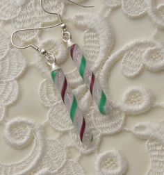 Candy Cane Earrings  Dichroic Fused Glass by GalaxyGlassStudio, $18.00