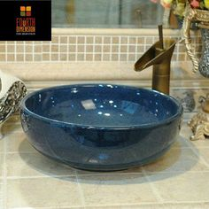 Home & Hotel Decor Artistic Dark Blue Wash Basin Ceramic Round Coutertop Bathroom Sink