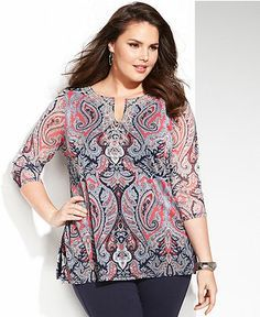 INC International Concepts Plus Size Three-Quarter-Sleeve Printed Kurta Top - Plus Sizes - Macy's Plus Size Formal, Plus Size Tops, Plus Size Women, Dresses For Apple Shape, Chic Outfits, Fashion Outfits, Plus Size Fashionista, Modelos Plus Size, Looks Plus Size