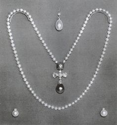 Azra Necklace, part of Russian crown jewels til 1873. 110 perfectly matched pearls w/a large round black pearl & a diamond cross pendant w/black pear shaped pearl called 'the Azra'. Empress Catherine II gave it to Potemkin 1783, inherited by his niece, Princess Tatania Youssoupoff. The family also owned La Pelegrina (both displayed together in exhibition of Russian art London 1935). Lydia Deterling later owned the Azra but lost it at Paris reception for Princess Margaret. It was never found.