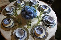All Things Farmer table setting in blues and greens