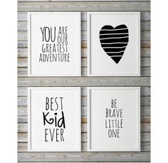 Scandinavian Nursery Wall Art Set Of 4 Prints You Are So Loved Heart Print 24x36 Be Brave Little One Best Kid Ever Large Black And White by WhitePrintDesign on Etsy