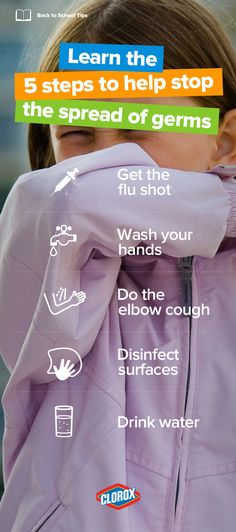 Listen up parents! Here are several steps you can take to help prevent your kids from catching the flu and reduce the spread of viruses that cause it: Get the flu shot, wash your hands, do the elbow cough, disinfect surfaces (with Clorox, duh) and drink plenty of water!
