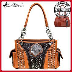 Montana West Indian Chief Concho Collection Concealed Handgun Satchel Handbag (Coffee) - Top handle bags (*Amazon Partner-Link)