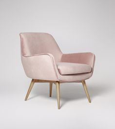 Leola Dusty Pink Velvet Armchair | Swoon