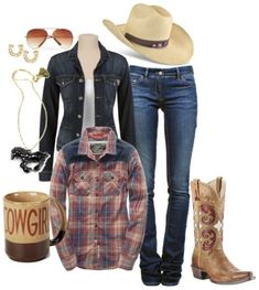 Cowgirl Outfit :) hubby would love this too Country Girl Outfits, Cute Cowgirl Outfits, Country Fashion, Country Girl Style, Western Outfits, Western Wear, My Style, Country Girls, Western Dresses