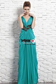 Wholesale Vestidos De Fiesta 2017 Brand New Evening Party Gown V-Neck Applique Turquoise Chiffon Prom Dresses