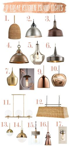Today I am sharing some of my favorite kitchen island lights. For kitchen island light spacing, see my previous post, Kitchen Island Lighting Guide. I am doing