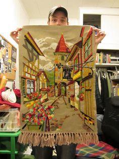 Swiss Village crewel tapestry