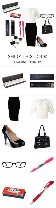 """""""Bad teacher"""" by audrey-brooke-zaring ❤ liked on Polyvore featuring Sugar Paper, Sloane Stationery, Viereck, Lanvin, Journee Collection, McKleinUSA, Muse, Sharpie, Quartet and Sur La Table"""