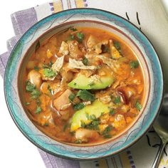 Rachael Ray crockpot chicken lime, avocado, and cilantro soup. (Minus tortillas and use whole chicken)