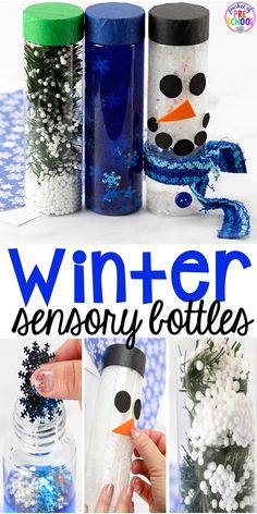 Winter Sensory Bottles - Pocket of Preschool Winter Sensory Bottles to help students calm down, for sensory processing, or fun science exploration. Winter Activities For Kids, Winter Crafts For Kids, Winter Fun, Winter Theme, Preschool Winter, Kids Crafts, Sensory Activities, Preschool Activities, Sensory Rooms
