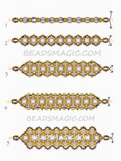 FREE Beaded Pattern for Bracelet DARK HONEY   Beads Magic#more-9546. Use: seed beads 11/0 and 8/0, faceted crystal beads 6mm, pearls 4mm. Page 2 of 2