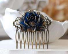 Coral and Teal Blue Hair Comb Wedding Bridal Hair Comb by LeChaim