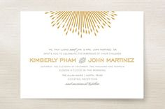 Glam Burst Wedding Invitations by Cheer Up Press at minted.com Perhaps but without the glamburst part?