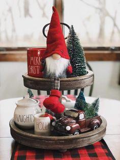 3 Tier Christmas Tray - Party Wowzy - Happy Christmas - Noel 2020 ideas-Happy New Year-Christmas Diy Christmas Decorations For Home, Farmhouse Christmas Decor, Rustic Christmas, Plaid Christmas, Christmas Home, Christmas Holidays, Christmas Crafts, Christmas Shopping, Christmas Ideas