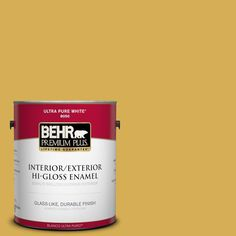 BEHR Premium Plus 1-gal. #370D-6 Golden Cricket Hi-Gloss Enamel Interior/Exterior Paint