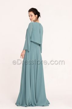 The seaglass green bridesmaid dress features popular popover style with modest long sleeves, slightly ruched neckline, A Line skirt floor length. Dress Brukat, Long Gown Dress, Dusty Blue Bridesmaid Dresses, Bridesmaid Dresses Online, Korean Fashion Dress, Fashion Outfits, Hijab Evening Dress, Simple Gowns, Cheap Dresses Online