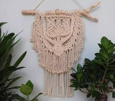 Handmade Small Macrame Wall Hanging made from cotton and driftwood. Adds  modern boho touch to any living space.