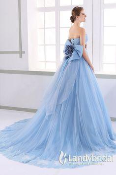 カラードレス プリンセス 取り外し式リボン ハートネック スカイブルー チュール JUL015008-sk 価格 ¥67,932