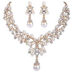 EVER FAITH Flower Simulated Pearl Wedding Jewelry Set Clear Austrian Crystal - Gold-Tone >>> Want additional info? Click on the image.