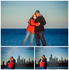 chicago winter engagement session liesl diesel photo montrose harbor skyline los angeles photographer