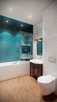 This beautiful modern traditional bathroom design features wood-effect floor tiles and ripple-effect glossy metro tiles. Bathroom Design Small, Bathroom Interior Design, Bath Design, Interior Modern, Tile Design, Interior Ideas, Bad Inspiration, Bathroom Inspiration, Shower Wood Floor