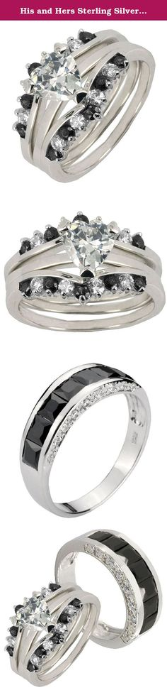 His and Hers Sterling Silver 2.6CT Heart Cubic Zirconia & Black Channel Set Men's Ring Sz 9, 9. His and Her's wedding ring set, with sterling silver 925 women set ring and men's band combine together. All jewelry need good care no matter sterling silver or titanium, our sterling silver ring was rhodium plated, you cannot use any chemical to wash it even wash hand, do not use any lotion or perfume apply on the ring surface it will effect the rhodium plated, it may make the ring tarnish due…