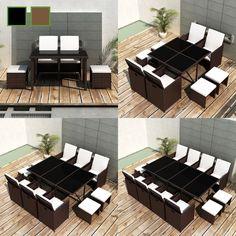 Poly Rattan Gartenmöbel Essgruppe Gartengarnitur Set Sitzgruppe Sessel Lounge