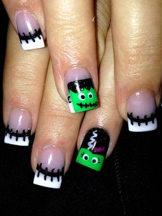 Halloween Nail Art design with Frankenstein, Bride of Frankie and monster horror stitches, very cool and clever #nails