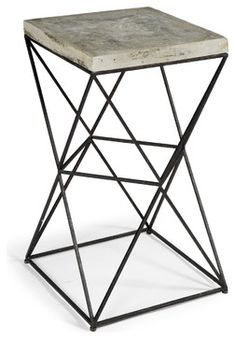 Eames Industrial Loft Metal Concrete Square End Table - modern - nightstands and bedside tables - Kathy Kuo Home