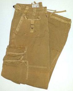 Polo Jeans Company Ralph Lauren mens 33x32 tan beige distressed cargo pants #PoloJeansCo #Cargo