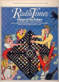 """Radio Times"", Magazine newspaper, 'Vision of the Future', London, (Nov. - Cover Illustration by George Hardie (b. Magazine Covers, Tv Times, Vintage Tv, Bbc Radio, Tvs, First World, Magazines, Nostalgia, Tv"