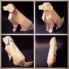 Golden retriever by origami artist Joseph Wu