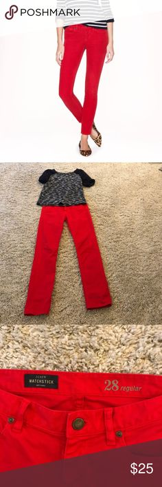 """J crew """"RED """" jeans J. Crew MATCHSTICK RED jeans . In great pre-loved condition no flaws I'm able to see. Inseam is 32 inches J. Crew Jeans Straight Leg"""