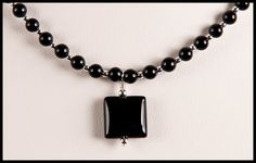 Items similar to Square Black Onyx Accent Necklace and Earrings Duet on Etsy Dog Tag Necklace, Pendant Necklace, Black Onyx, Round Beads, Chokers, Necklaces, Sterling Silver, Chain