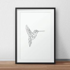 Geometric Bird, Bird art, Bird origami, Black and White Artwork, Bird Print, Animal wall art, Home Decor, Gray Wall Art by AnnyDigitalDesign on Etsy