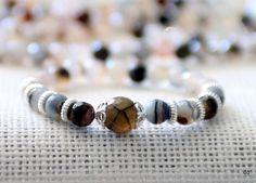 Beautiful Wrist Mala Yoga Bracelet Jasper Beaded Bracelet Silver Details by BadDog1976 on Etsy