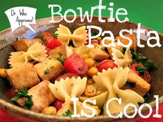 bowtie pasta  for Dr. Who party  from: cadryskitchen.com.  May have to simplify for kids' since I don't know what veggies they like...