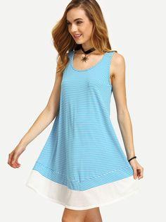 Blue White Striped Swing Tank Dress