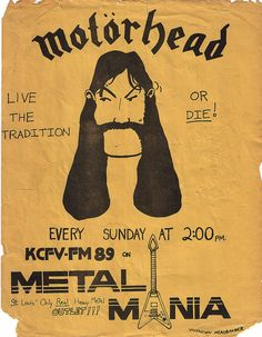 Flyer for a weekly Motorhead Metal Mania radio show on KCFV St. Louis Community College radio station