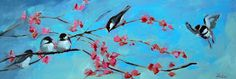angela moulton's painting a day. Chickadees and Cherry Blossoms Painting
