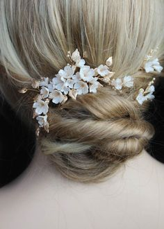CHERRY BLOSSOM in pale gold and ivory 2 Wedding Hair Pins, Wedding Hair Flowers, Headpiece Wedding, Bridal Headpieces, Wedding Dress, Blush Flowers, Clay Flowers, Cherry Blossom Wedding, Cherry Blossoms