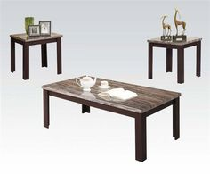 Carly Cherry Black Faux Marble Wood Coffee Table Set