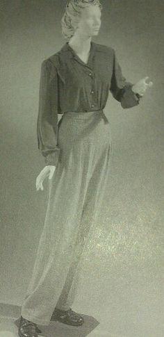 3. 1940s crepe blouse and slacks.