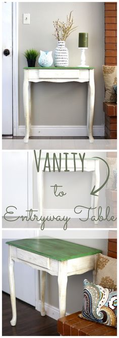 Just because you aren't a kid anymore doesn't mean you cannot still use some of your childhood furniture.  This used to be my vanity as a kid.   A few coats of paint later, I know have a fun colored entry table!  Did I mention that by using chalk paint it was so easy to update!!