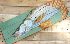 Fish Snook painting on hand made wood panel by ADorsettOriginals